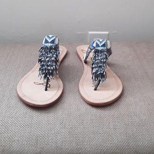 Sam Edelman Beaded Flip Flops - Blue/ White